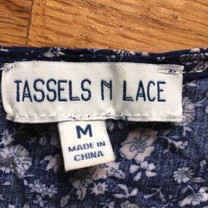 Tassels  N Lace Tops - New Tassels N Lace Blue Bell Sleeved Top